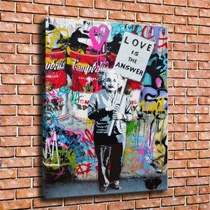 Banksy Mr. Brainwash, amore è la risposta, Einstein, l'arte dei graffiti, HD Tela Stampa Nuova decorazione della casa Arte Pittura / (Unframed / Framed)