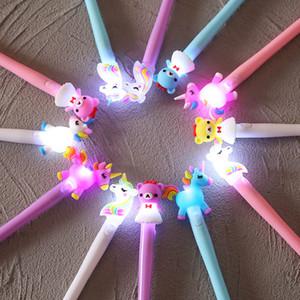 5PC 귀여운 곰 유니콘 펜 카와이 중립 펜 어린이 여자를위한 가와이 중립 펜 빛 펜 선물 학교 사무용 소설 편지지