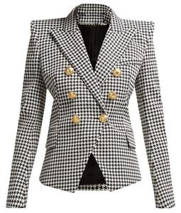Nouveau Style Marque B Top Qualité Original Design Femmes Pied De Poule Double Boutonnage Slim Veste Boucles En Métal Blazer costume collier outwear