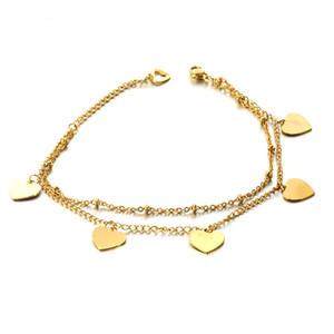 Material Acero inoxidable chapado en oro de 14K color de la pulsera de las mujeres del corazón para el día de Nuevos Productos pulsera del encanto de San Valentín 2019 la manera del corazón