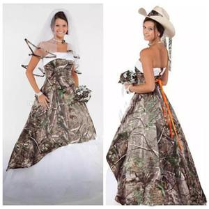 Wunderschöne Camo Brautkleider Satin Country Cowgirls Brautkleid Sweep Zug Plus Size Camouflage Brautkleider Korsett Lace Up