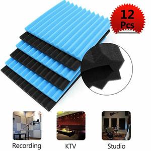 12 pcs Engrossar papel de parede retardante de chamas triângulo sulco som-absorção de algodão algodão à prova de som anti-ruído esponja de parede