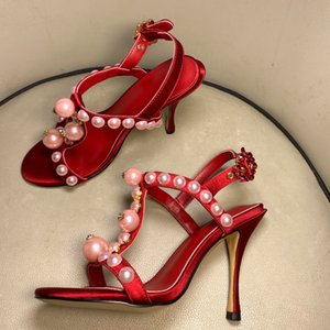 Pearl T Strap Thin High Heel Sandals Ankle Buckle Cut Out Open Toe Red Sweet Summer Shoes Stiletto High Heel Party Ladies Shoes