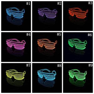 OOA3787 Partido del obturador El alambre de neón de LED se encienden Lentes Iluminación Clásica Luz brillante Festival Gafas 100pcs
