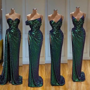 2020 Sexy mangas Sereia Vestidos Sexy alta Dividir Prom Dress Sequined Formal Evening vestidos de robe de soiree Abendkleider