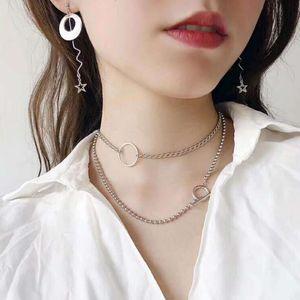 gargantilhas colar de jóias em aço de titânio colar círculo geometria rodada forma oca para fora para mulheres moda quente