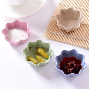 7x7x2.5cm Creative Plum Blossom Plats Blé Paille Assaisonnement Assiette De Goût Assiette De Sauce Chili Ketchup Vinaigrette Plat De Sel C19042101