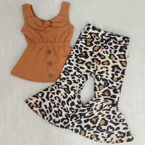 infant baby newborn girl designer clothes summer set tollder baby girls clothing boutique bell bottom outfits leopard print kids set