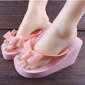 Frauen Flip-Flop-Zapfen-Plattform-Keil-Absatz-Sommer-Bogen-Knoten Strand Slipper Sandalen Schuhe Slides Mules New 3Colors C647