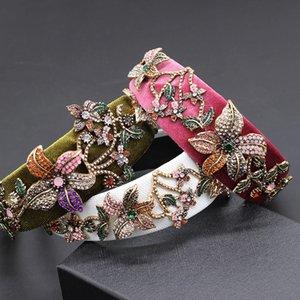 바로크 패션 큰 꽃 머리띠 궁전 쇼 공 모조 다이아몬드 헤드 밴드 라인 석 꽃 패션 헤드 밴드 (731) 과장
