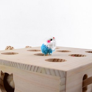 EASY-Solid Wooden Cat Toy Puzzle Interactive Toys Whack A Mole Shape Hamster Funny Wooden Box For Playing Cat Supplies