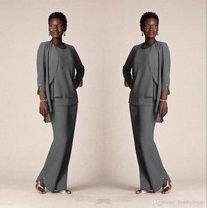 Anne Damat Elbise İçin Gri şifon Örgün Pant Suit Gelin Modelleri ile Ceketler Plus Size Custom 2020 Akşam Giyim Uzun Anne