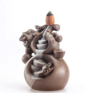 El budismo decoración de cerámica reflujo incienso quemador creativa decoración incensario Aroma quemador de incienso titular Z