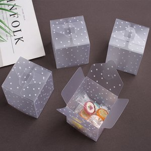 DIY Frosted Translucent Polka Dot Candy Box 6*6*6cm PVC Chocolate Bags Christmas Gift Box Wedding Favor Party Event Decoration