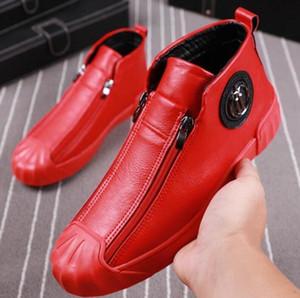 Scarpe alti suture maschile scarpe casual doppia celebrità sicurezza scarpe alla moda maschile Martin rosso con il lato di velluto bordo cerniera scarpa V1.17