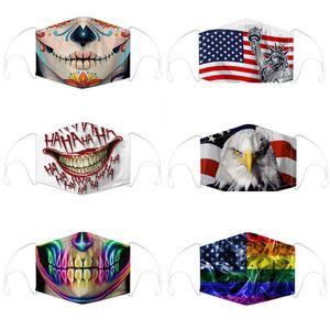 Masken-Schädel und Flagge Digitaldruckmaske mit Filter staubdicht PM2.5 abwaschbar Masken einstellbar earhook