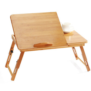 Ajustável Bamboo suporte do computador Laptop Desk Notebook Table Desk Laptop Para a Bandeja Sofá Cama mesa de piquenique Tabela Estudar