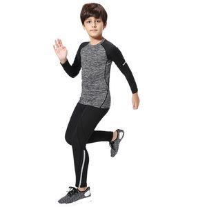 Çocuklar sıkıştırma kostüm için Çocuk rashgard kiti Spor Wear spor çabuk kuruyan eğitim Toptan-takım elbise Boy spor