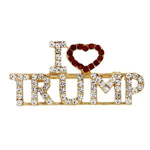 Ben kadınlar için Trump Rhinestones Broş Pins seviyorum Glitter Kristal Mektuplar Pins Ceket Elbise Takı Broşlar