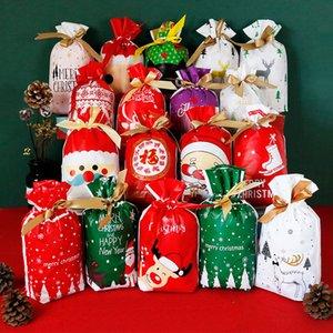 50 unidades / lote bonito dos desenhos animados presentes do bolinho do Natal Embalagem com cordão de plástico EVA Sacos para biscoitos bolo de aniversário Pacote dos doces