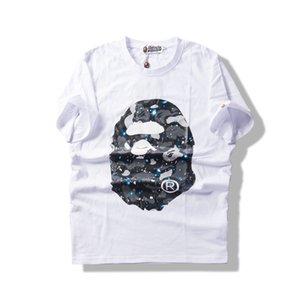 최신 2020 여름 새로운 원숭이 티셔츠 십대 인쇄 T 셔츠 오프 남성의 레저 라운드 넥 느슨한 반팔 화이트 풀오버 저스틴 비버 (Justin Bieber) Shir