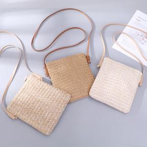 Женская Соломенная коса небольшие квадратные сумки одно плечо наклонены через сумку сумка