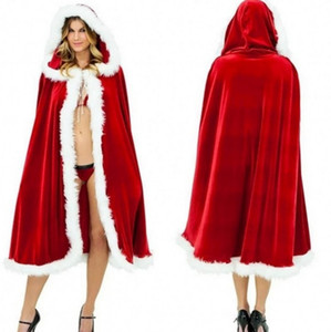 NEW 2020 Christmas Santa Claus mit Kapuze Mantel-Kap-Xmas Party Cosplay Robe Kostüm Frauen