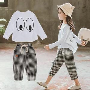 Pantalones Otoño 2019 Nueva Kids'Eye T-comprueba Dos clases de Leisure Suit Corea occidentalizada de las niñas