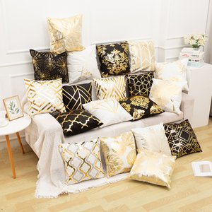 2019 브론 징 프로세스 짧은 벨벳 베개 유럽 스타일의 소파 침대 베개 커버 45 * 45 Cm 잎 기하학적 패턴 Pillowslip