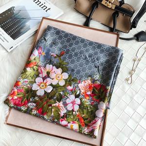 lenços flor carta mulheres de seda designer de lenço estilo clássico praia xale headwrap seda 2020 luxo requintado acessórios mulher lenço de seda