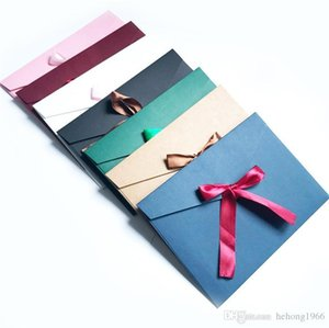 Originality Silk Ribbon Envelope Retro Colorful Packaging Box Envelopes Pure Color Blank Invitation Card Gift With Bowknot 0 65yf ff