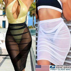 Sexy Beach Cover Up Skirt Donna Lady Chiffon Beachwear Costume da bagno corto Costume da bagno Prospettiva Abbigliamento donna