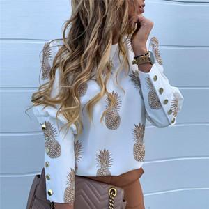 Fashion Pineapple O-Neck Puff Sleeve Blouse Autumn Elegant Workwear Women Tops And Blouses