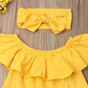 1-6Y Summer Kids Baby Girl Clothes Sets Yellow Off Shoulder Tops+Ripped Jeans Denim Pant+Headband 3Pcs Clothes