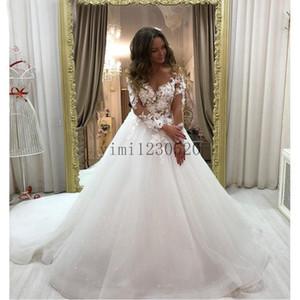 2020 Wedding Dresses Sheer Neck Long Sleeve Sweep Train Appliques Illusion Bodice Garden Bridal Gowns vestidos de novia Plus Size