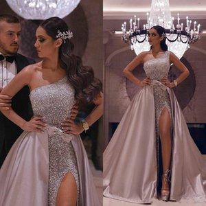 Sexy Aso Ebi arabe or réfléchissant bal Rose robes 2020 Une ligne haute de Split robes de soirée pailletée avec Amovible deuxième __gVirt_NP_NNS_NNPS<__ Robes de réception
