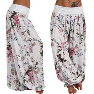 Женские брюки CAPRIS Женские повседневные цветочные печать S-5XL плюс размер гарем широкие ноги свободные высокие талии брюки мешковатые 7 цветов Freeship