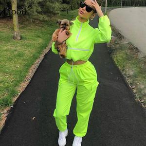 Liooil Neon Yeşili Kadınlar Kıyafetler İki Adet Set Eşofman Uzun Kollu Crop Top Ve Sweatpants Koşucular Suit Setleri Yukarı Zip 2019 Güz