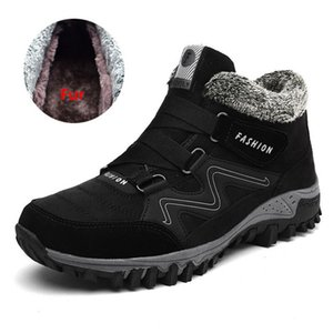 Brand Men Boots Winter With Fur 2019 Warm Snow Boots Men Winter Boots Work Shoes Men Footwear Fashion Rubber Ankle Shoes 39-46