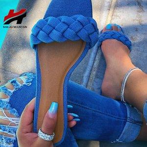 NAN JIU MOUNTAIN 2020 Plataforma Praia Chinelos Verão Plano sandálias femininas sapatos cor sólida Abrir Toe Casual Moda Plus Size
