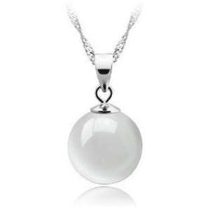 Collana in argento sterling 925 con collana a catena con pendente in opale bianco a sfera rotonda naturale