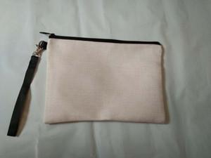 5pcs 23cmx16cm Sublimation Linen cosmetic bags DIY women blank plain zipper makeup bag phone clutch bag