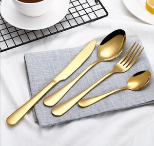 Высокое качество золотой набор столовых приборов 4-х частей ложки вилки нож столовые приборы из нержавеющей стали посуда набор для свадьбы фестиваль ужин наборы столовых приборов