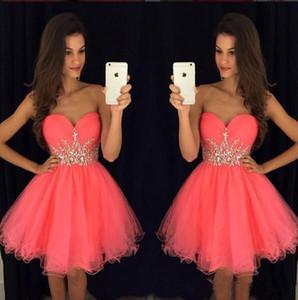 Brevi vestiti sexy dal ritorno a casa del 2019 Sweetheart cristallo Coral Ball Gown Prom Dress Tea cocktail di lunghezza abiti del partito Designers personalizzate