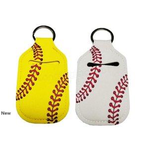 Neoprene Cover Baseball Softball Keychains Chapstick Holder RTS for Hand Sanitizer Bottle Gel Holder Sleeve Key Chain Ring pendent FFA3783