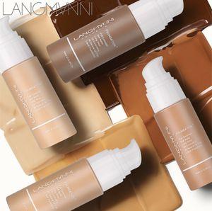 30ML Langmanni الأساس السائل ماتي لينة المخفي 13 الألوان التمهيدي قاعدة المهنية الوجه مكياج كونتور لوحة