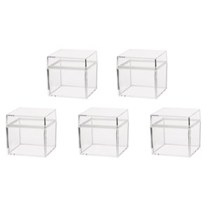 5PCS Food Storage Box Food Grade Environmental Square Transparent Plastic Candy Box Jewelry Case Creative Jewelry Box