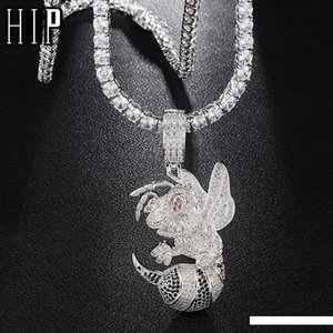 Hip Hop Iced Out Bling Cubic Zircon CZ Bean Necklaces &Pendants For Men Jewelry With Tennis Chain