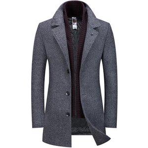 2019 New Winter Wool Trench Coat Jacket Men Long High Quality Formal Business Overcoat Men Woolen Trenchcoat HX049