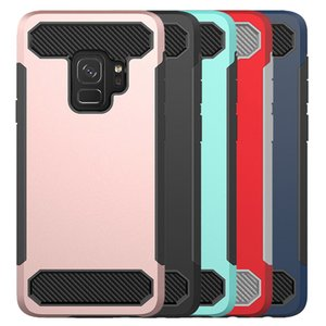 For Samsung A8 Plus 2018 Case Carbon Fiber Hybird Soft TPU Hard PC Back Cover Phone Case